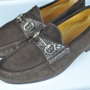 GUCCI Brown Suede Leather Horsebit Loafers 7 1/2 D